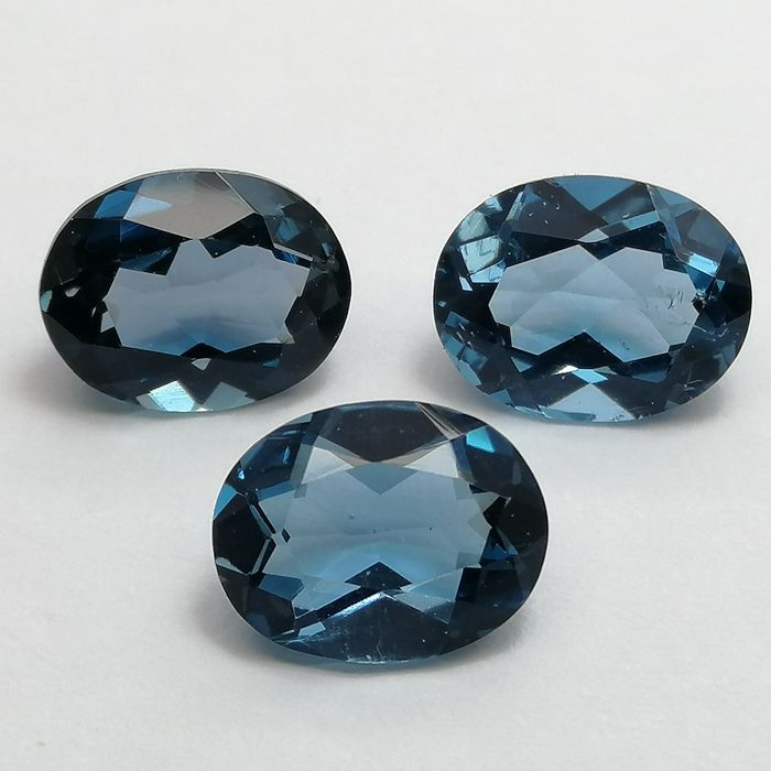 Lote de 3 Topacios London Blue - 6.95 ct Total