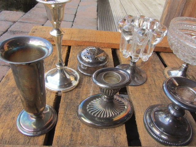 Candle stick - lot silver plated 10 items various - Silver plated