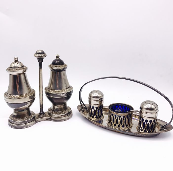 2 Antique English silver plated table sets - Silver plated - United Kingdom - 1950-1999