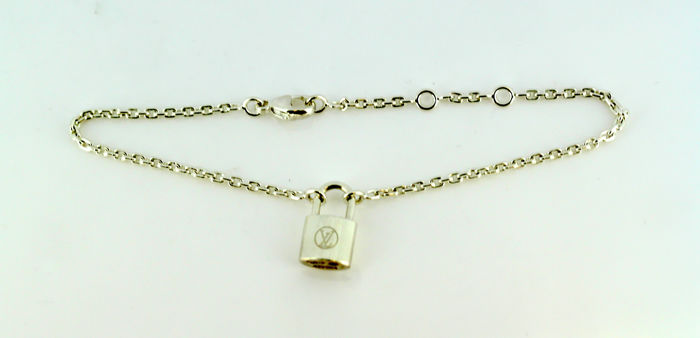 "Louis Vuitton - Sterling silver ""Padlock"" bracelet, Made in France Circa 1990's"