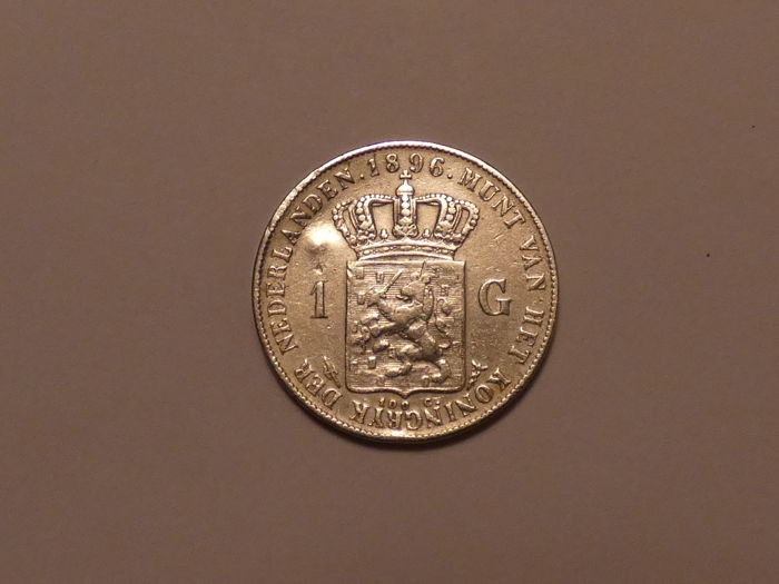 The Netherlands - 1 Guilder 1896 Wilhelmina with small dent - Silver