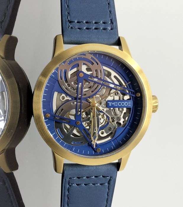 Timecode - Viking Skeleton Automatic Blue IP Gold Leather - TC-1018-05 - Men - 2011-present