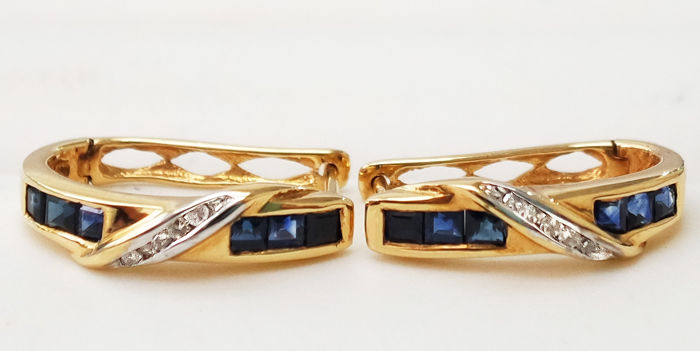 Earrings - Gold - Sapphire and Diamond