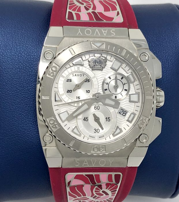 Savoy - Icon Light Chronograph 35 mm White Hot Pink Swiss Made  - C1107E.01E.RG16 - Women - 2011-present