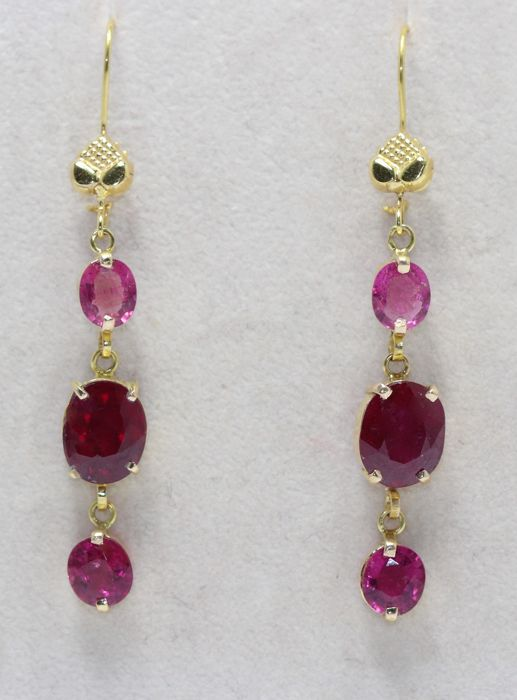 Earrings - Gold - 4 ct - Ruby and Tourmaline