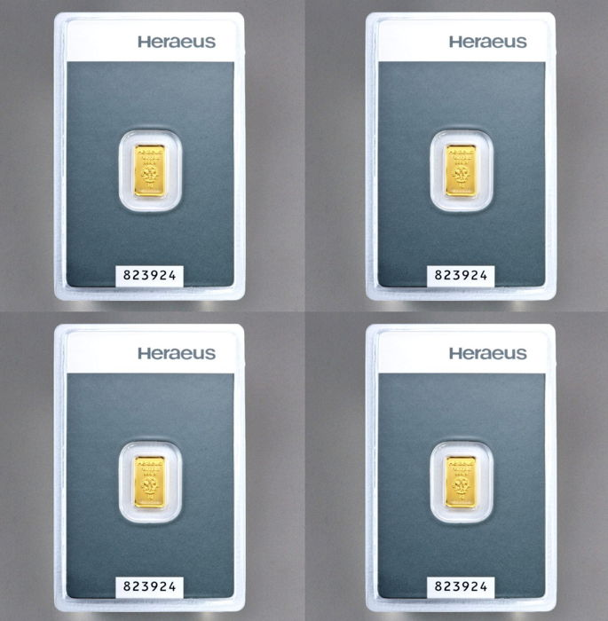 Heraeus gold bar, 4 x 1 g - 999 fine gold - secure blister packaging - with certificate and serial number