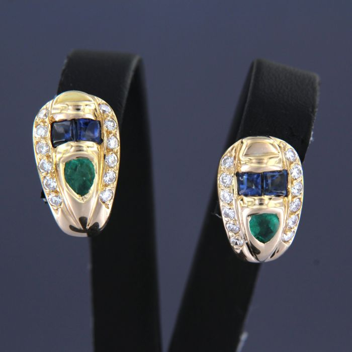 Earrings - Gold - 0.5 ct - Diamond and Emerald, Sapphire