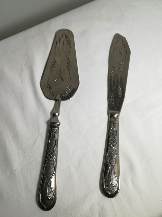 Cake cutlery set (knife and server) in silver 800