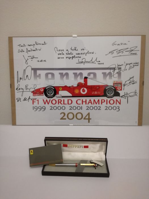 Poster - Ferrari - Fountain pen with case and poster - 2004-2010 (2 items)