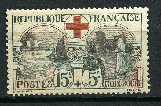 France 1918/1918 - 156 red cross, good centring, mint**