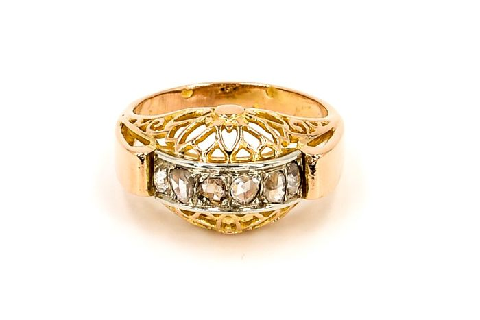 Ring - Art Deco - 18 kt yellow and white gold - Diamonds 0.30 ct - Ring size: 59 EU