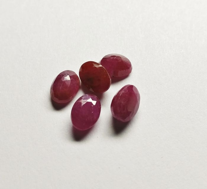 Lot of 5 Ruby Deep Purplish Red 6.17 ct ***No Reserve***
