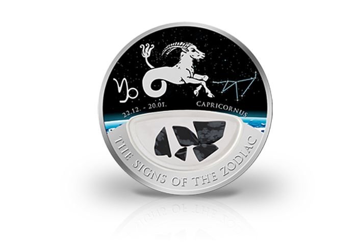 Fiji - 10 Dollar 2013 'The Signs of the Zodiac' mit Onyx-Edelsteine - Silver