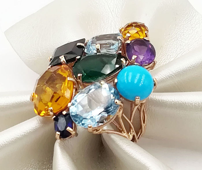 Ring - Gold - Natural (untreated) - Topaz and Amethyst, Garnet, Topaz, Turquoise