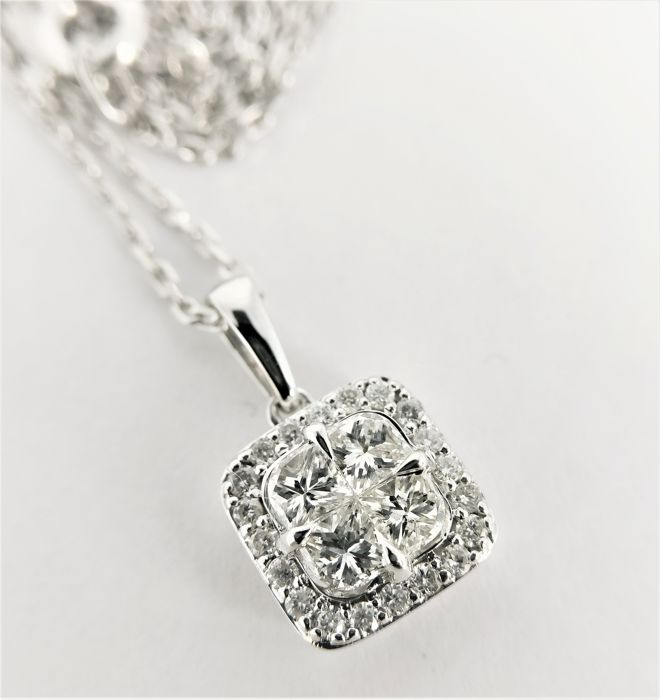 14k & 18k Witgoud - Ketting - 0.58 ct Diamant - Diamant