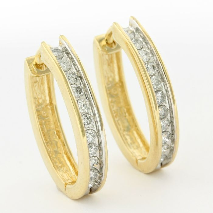 14kt Yellow Gold 0.50ct Round Brilliant Cut Diamond Earrings; 19mm in Length