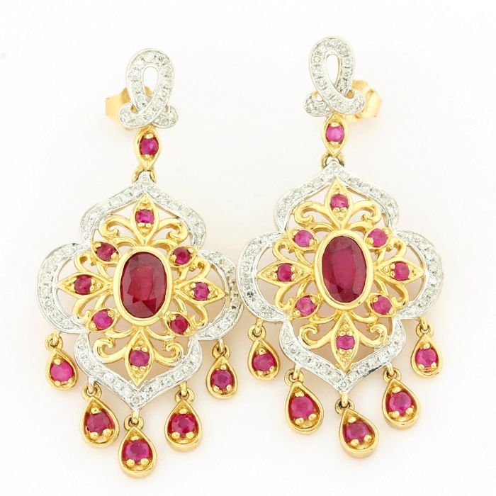 Antique Style 14kt Two-Tone Gold 3.00ct Oval/Round Cut Ruby and 0.60ct Round Brilliant Cut Diamond Earrings; 40mm in Length