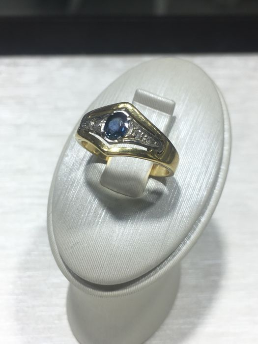 "Gold 18k ring ""750"" with blue sapphire and diamonds ""NO RESERVE"" VINTAGE"
