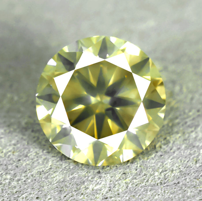 Natural Light Greyish Greenish Yellow Diamond - 1.50 ct, EXC/EXC/VG