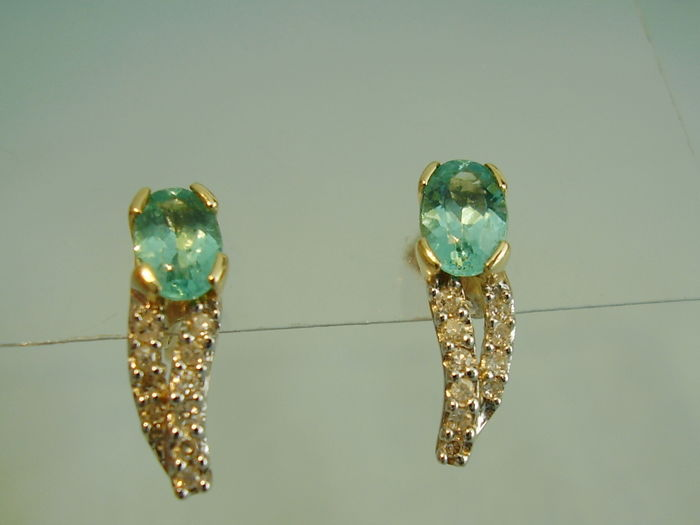 Earrings - Gold, White gold - 1 ct - Aquamarine tested and Diamond