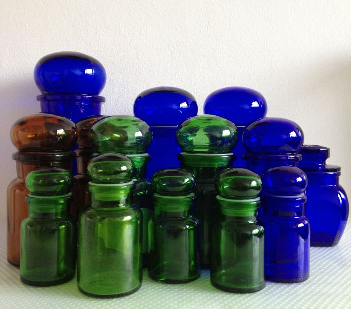 Apothecary Storage Jars   Collection Of 14   Glass