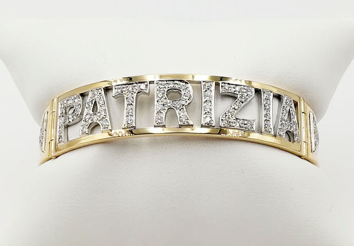 Bracelet in 18 kt Yellow Gold Personalized with the Name 'PATRIZIA', with Brilliant Cut Diamonds, COLOUR G, VS, totalling 1.42 ct, Diameter 6.00 cm, Total Weight 26.05 g