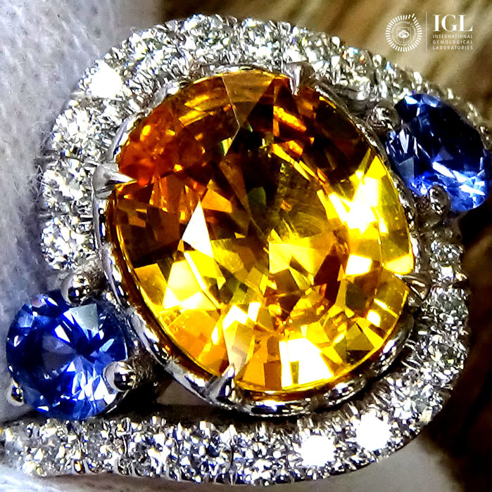 Sapphire Ring 3.27 ct Cocktail Diamond And Natural Yellow Sapphire in 18 kt white gold Size 6.5 US / 17 / 53 EU – Certified – No Reserve Price