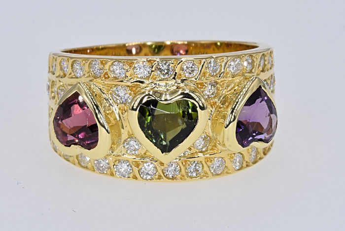 3.80 Ct Tourmalines with Diamonds loving ring . 18kt  gold, size 14 adjustable. NO reserve price.