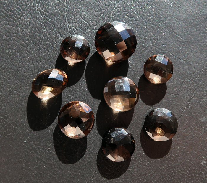 Smoky quartz - 8 stones - 37.5 ct