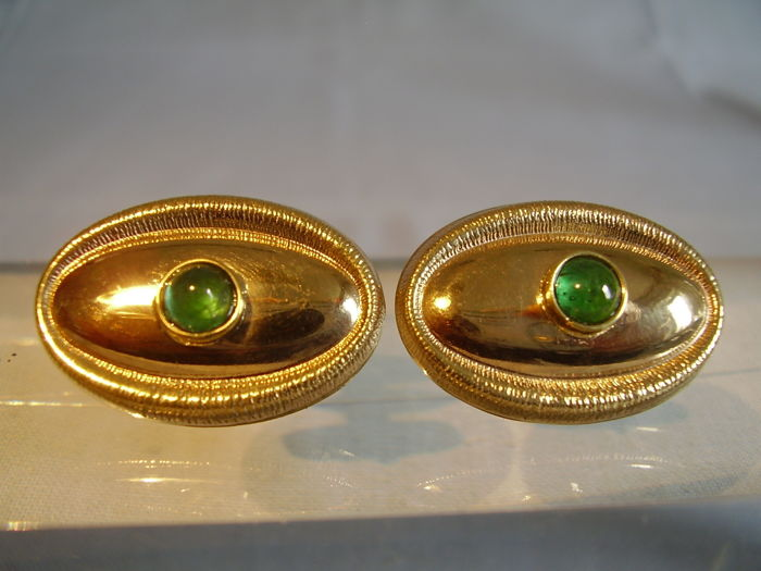 Wilhelm Müller Berlin - Cufflinks - Gold - 1.2 ct - Emerald
