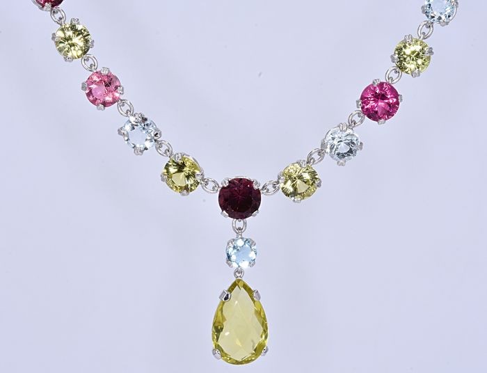 Necklace - White gold - Citrine and Tourmaline