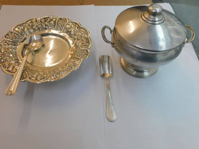 Lot of 4 items in silver 800 - Italy - 1950-1999