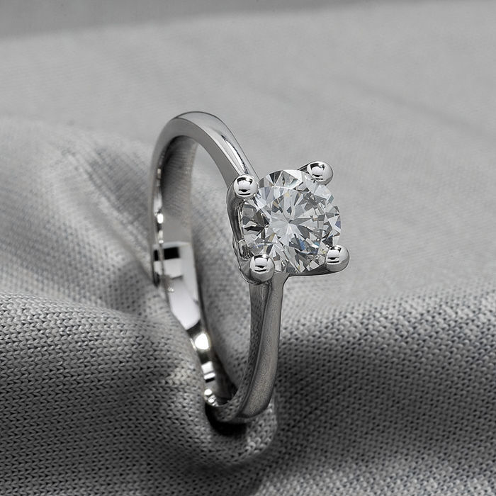 Ring - White gold - Natural (untreated) - 1.02 ct - Diamond