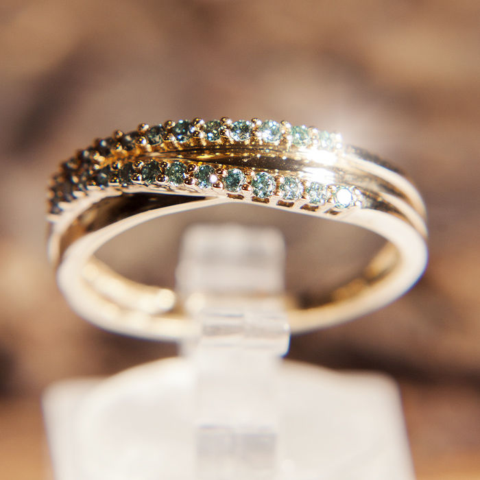 14 kt. Gold - Double Memory / Memory Design , Ring - 0.30 ct Tourmaline