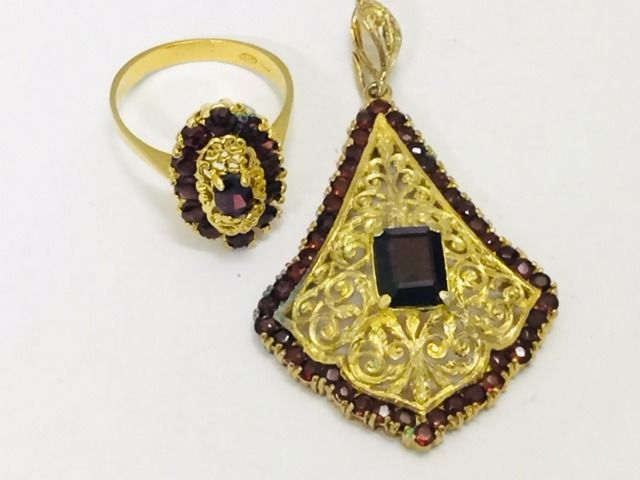 Antique silver Victorian pendant and ring with garnets - Italy - 1900