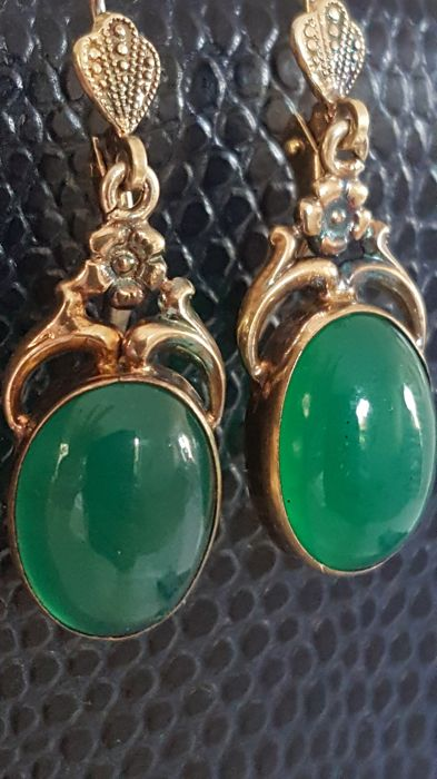 Wonderful Art Nouveau earrings, silver with high-quality jade AAA