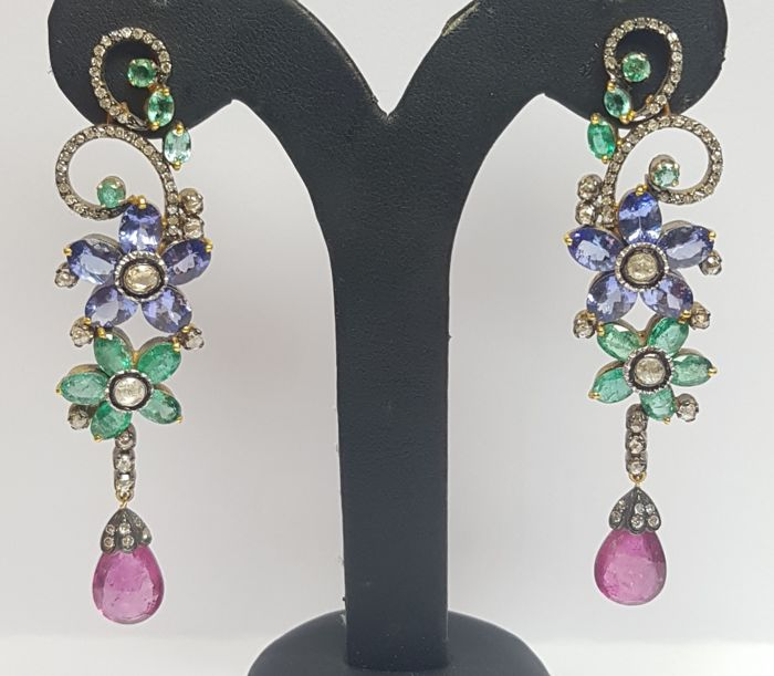 Earrings - Gold, Silver - Tanzanite and Amethyst, Diamond, Emerald, Tourmaline