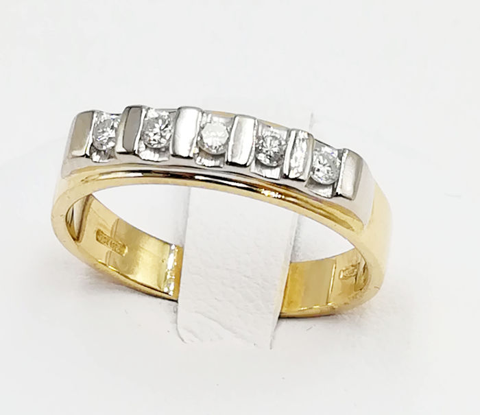 18 ct yellow and white gold ring, with brilliant cut diamonds (0.15 ct, G/VVS)