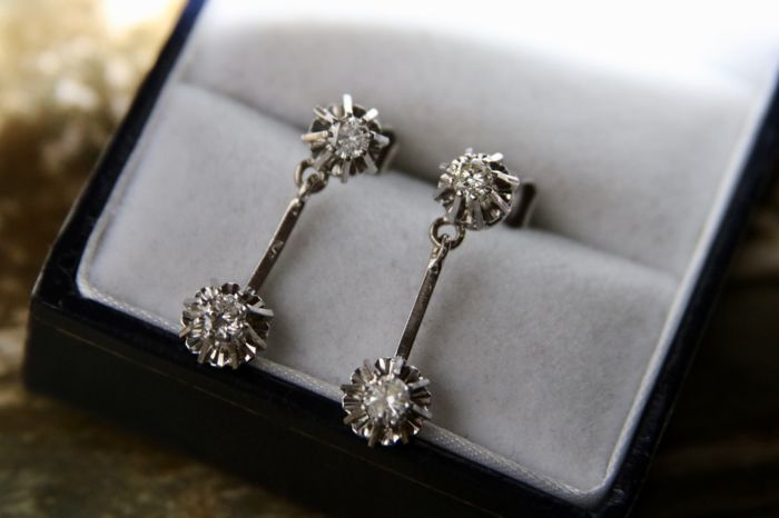 Earrings, wonderful Antique from Germany 750/18kt.  - White gold - Natural (untreated) - 0.5 ct - Diamond