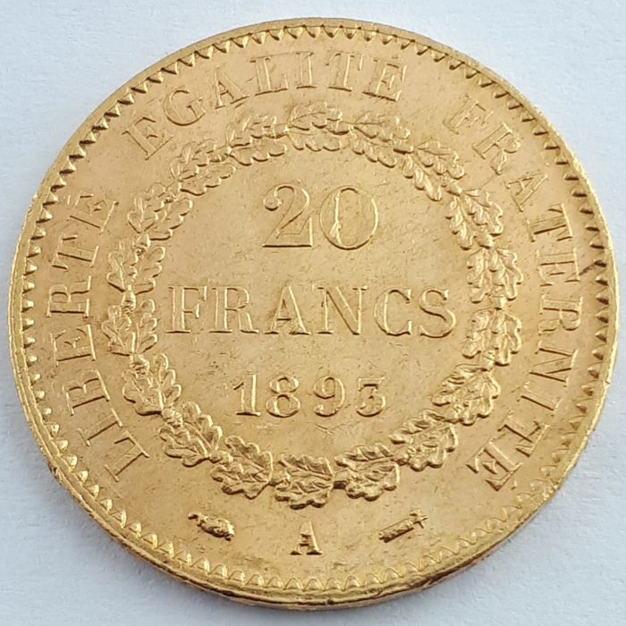 20 Francs 1893-A Genius - Or