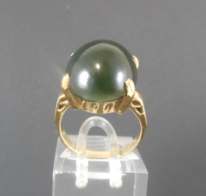 18K yellow gold ring with dark green Agate - Ring size 17 mm