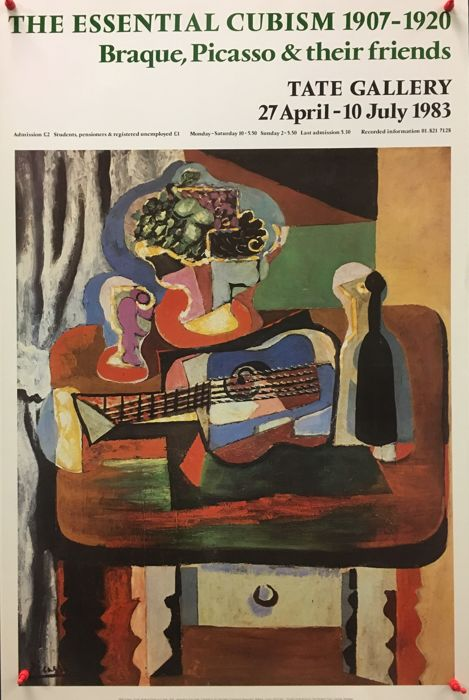 Pablo Picasso - Guitar, Bottle and Glass on a Table - 1983