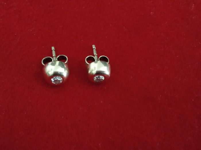 Earrings - gold - natural (untreated) - diamond