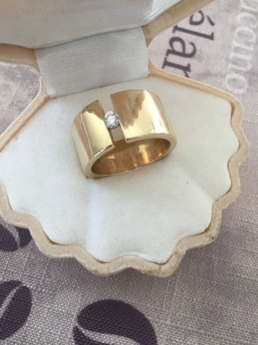 Band ring 585 yellow gold with brilliant