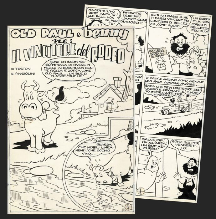 Old Paul e Benny - Sandro Angiolini -  2x original page - Loose page - First edition