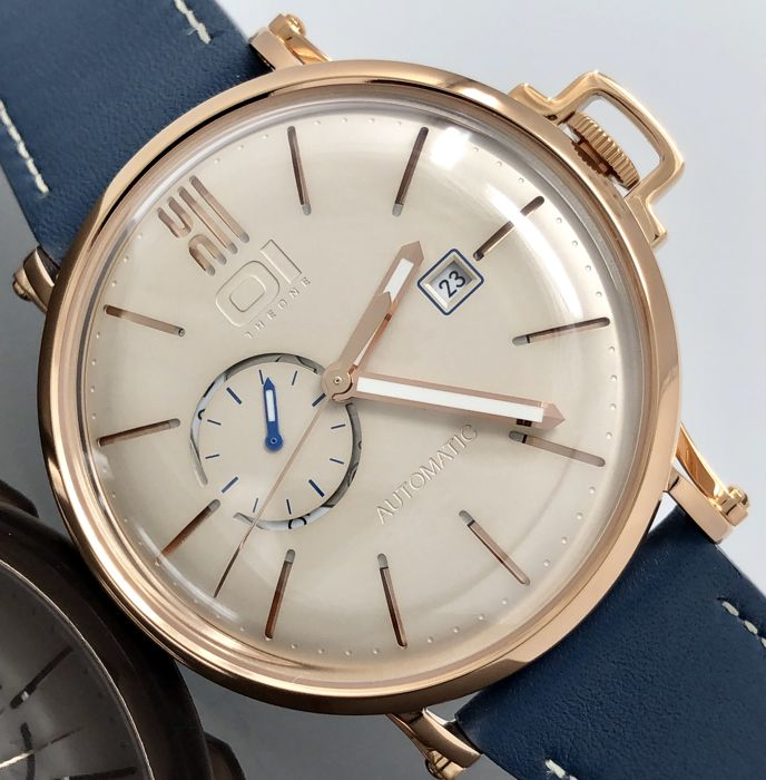 01 The One - Automatic 46mm IP Rose Gold Blue Leather Strap - A304L5 - Men - 2011-present