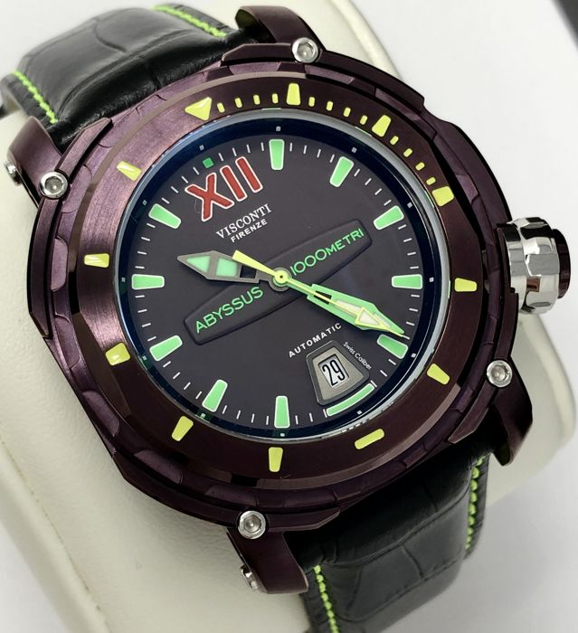 """Visconti - Abyssus Full Dive 1000M Automatic Purple EXTRA Strap - W115-00-166-1723 """"NO RESERVE PRICE"""" - Homme - new"""