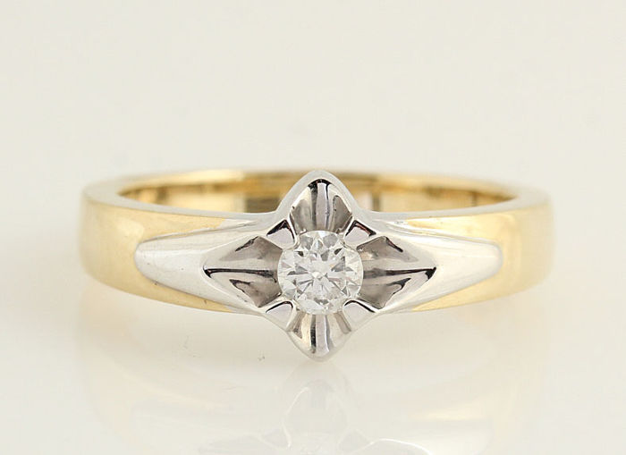 14 kt. White gold - Ring Diamond - diamonds