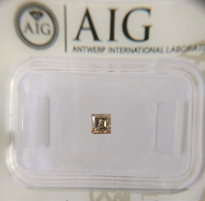 0.20 ct Princess cut diamond Fancy Brown I1 *** No Reserve ***
