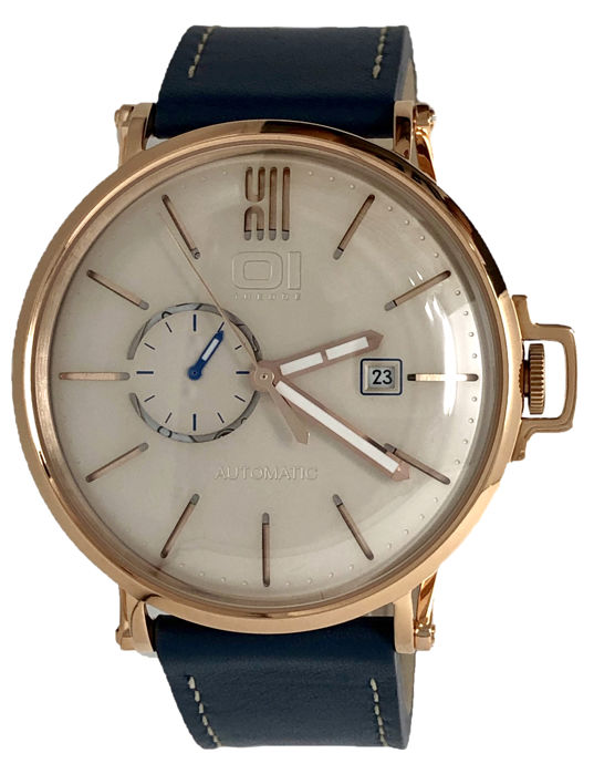 "01 The One - Automatic 46mm IP Rose Gold Blue Leather Strap - A304L5 ""NO RESERVE PRICE"" - Men - 2011-present"
